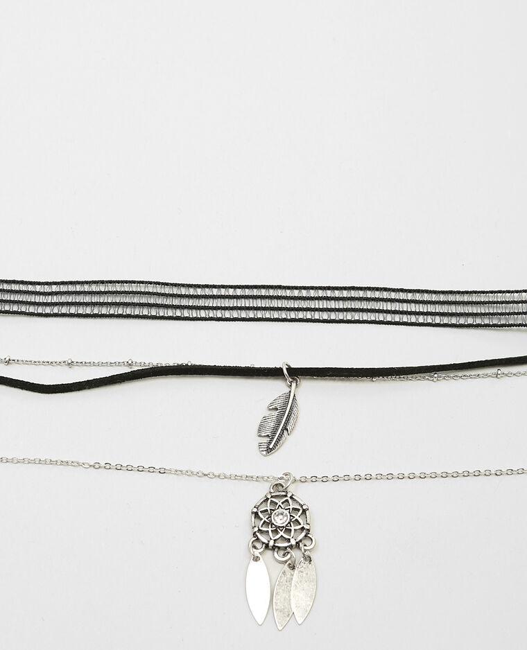 Set de colliers choker gris argenté