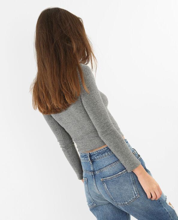 Cropped-Pullover mit Reißverschluss Grau