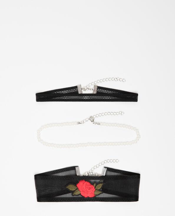 Set van drie chokerkettingen zwart
