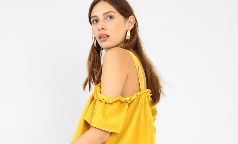 Top cut out amarillo mostaza