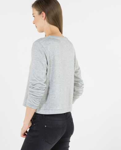 Cropped-Sweatshirt mit Sterne-Motiv Grau