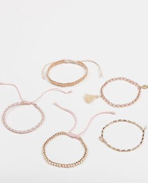 Set aus 5 Armbändern Rosa