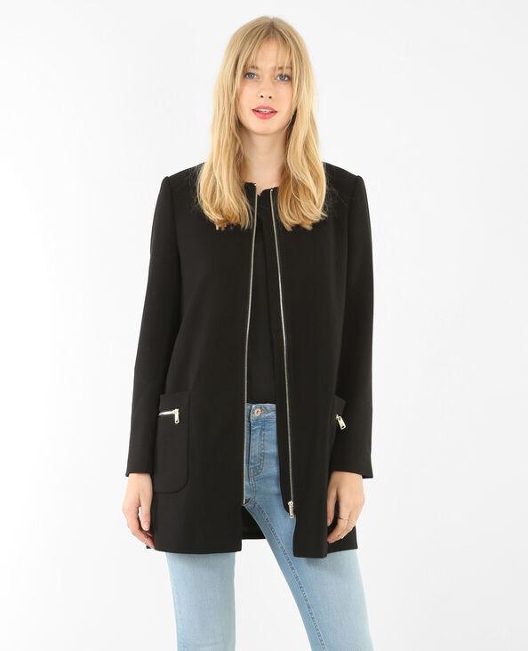 Manteau sans col noir