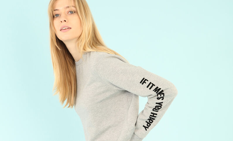 Sweat cropped message manches Gris