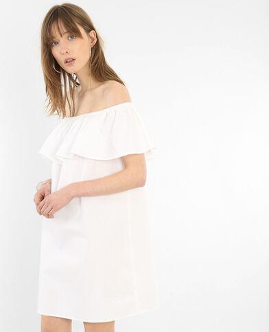 Vestido de popelina escote bardot crudo