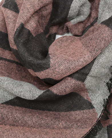 Sciarpa plaid motivi geometrici rosa