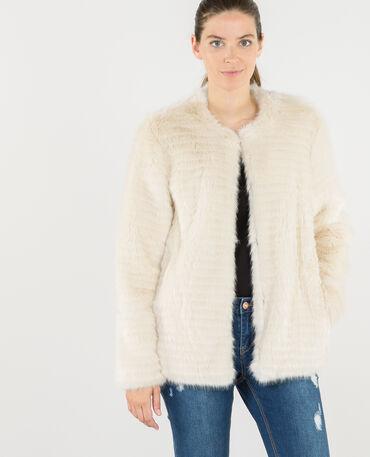 Cappotto in pelliccia ecologica beige corda