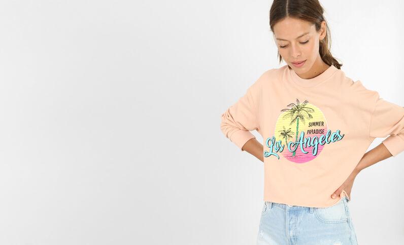Kurzes bedrucktes Sweatshirt rosa
