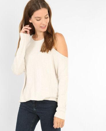 T-shirts à manches peekaboo beige