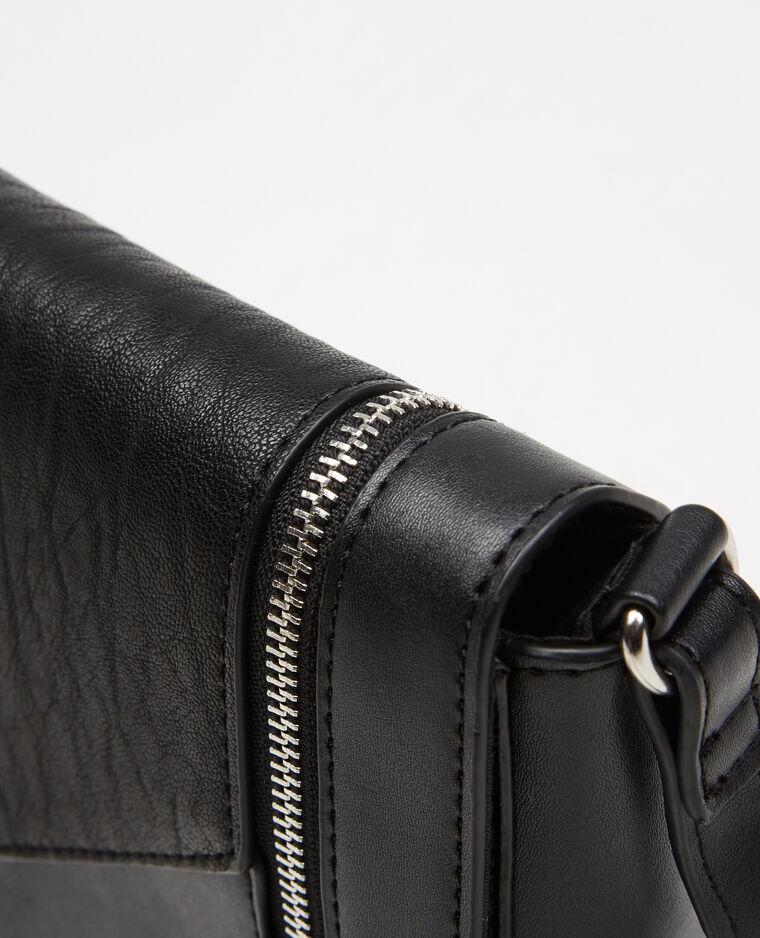 kleine boxy tasche mit rei verschluss schwarz. Black Bedroom Furniture Sets. Home Design Ideas