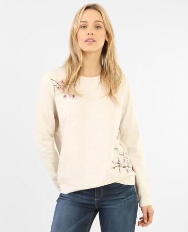 Besticktes Sweatshirt Hellbeige