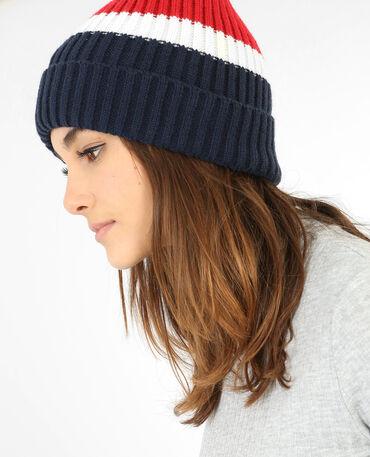 Dreifarbige Mütze Marineblau
