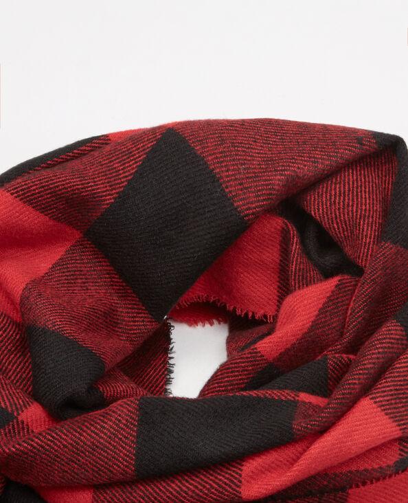 Bufanda manta estampado damero rojo
