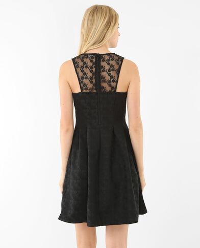 Skater-Kleid aus geblümtem Jacquardstoff Schwarz