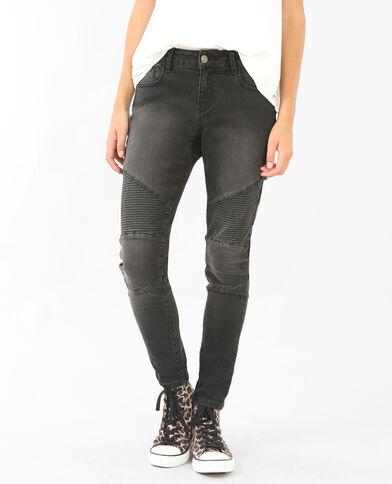 Skinny-Jeans im Biker-Look Schwarz
