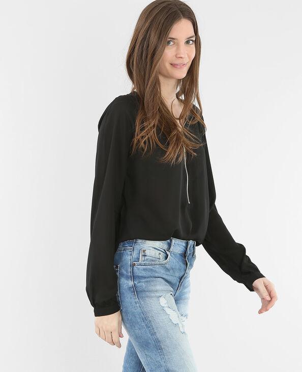 Bluse mit Reißverschluss Schwarz