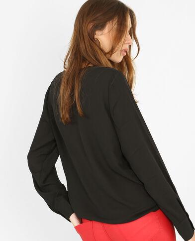 Bluse mit überkreuztem Ausschnitt Schwarz
