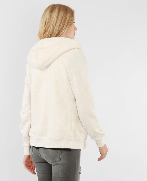 Besticktes Sweatshirt mit Reißverschluss Naturweiß
