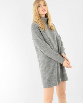 Robe pull col roulé gris chiné