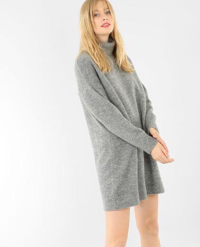 Pulloverkleid mit Rollkragen Grau meliert