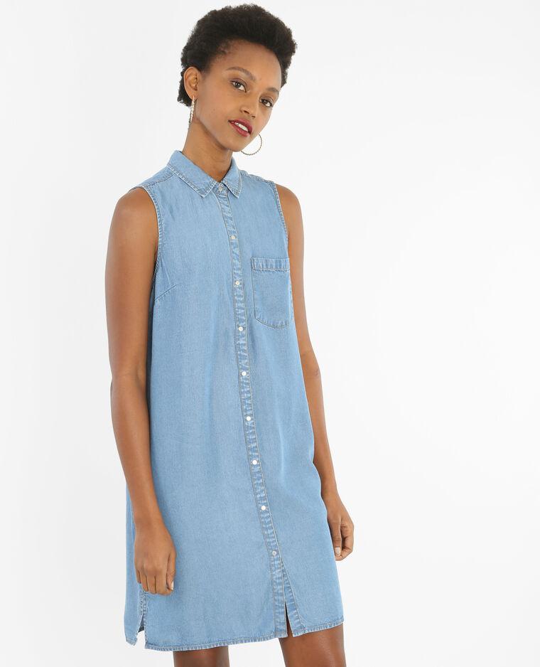 Ärmelloses Hemdblusenkleid. Blau