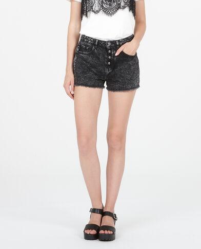 Short en jean taille haute gris délavé