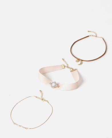 Set aus Choker-Halsbändern Gold