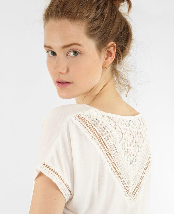 Camiseta espalda de encaje crudo