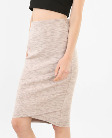 Gonna midi bodycon grigio