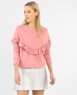 Sweatshirt mit Rüsche Rosa