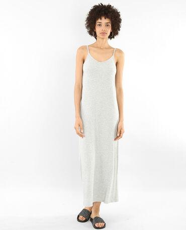 Geripptes langes Kleid Grau meliert