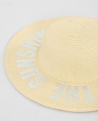 Zilveren hoed met brede rand en opschrift Beige