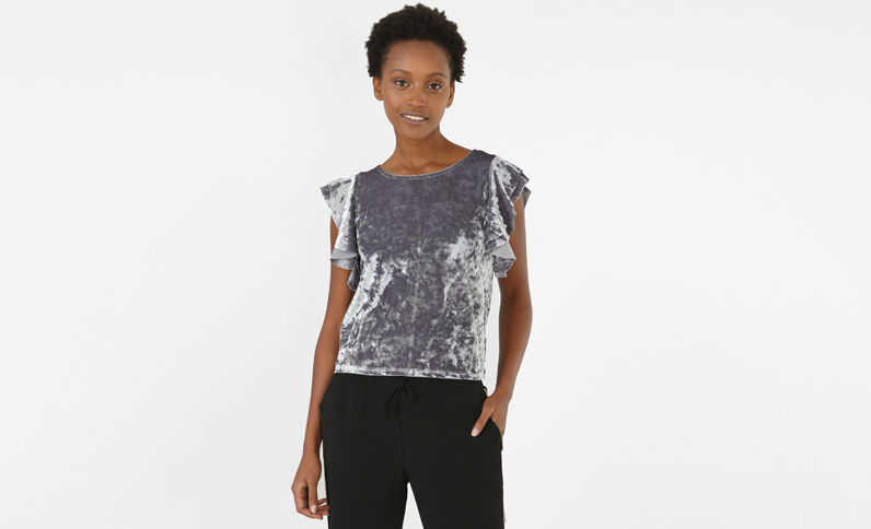Velours-T-Shirt Grau