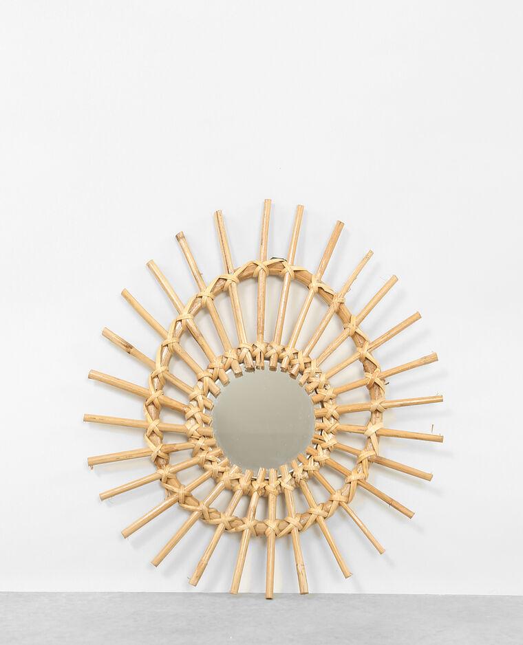 Petit miroir en rotin asymétique beige taupe