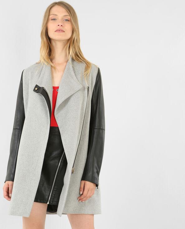 Manteau bi-matière gris chiné