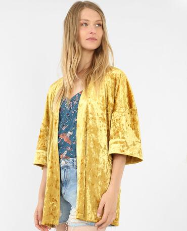 Kimonojacke mit Velours-Effekt Senfgelb