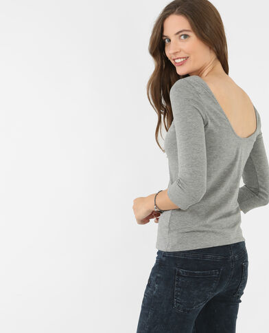 Camiseta escote espalda gris jaspeado