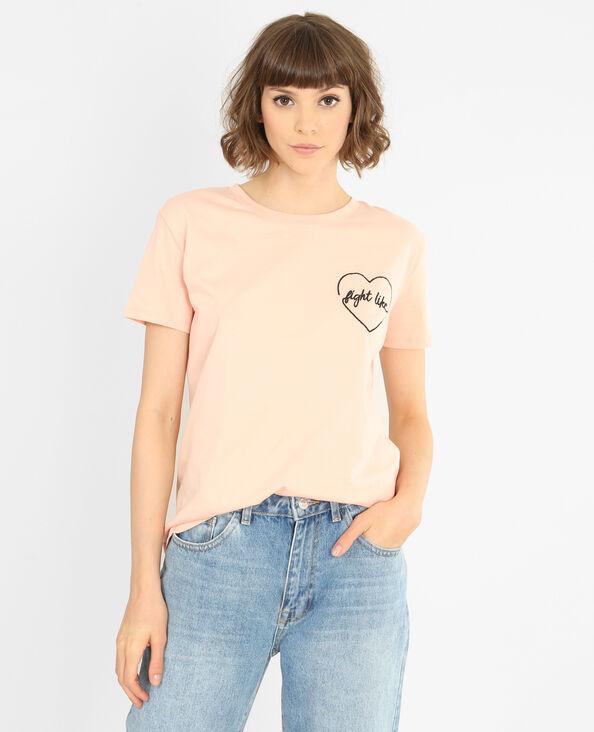 Besticktes T-Shirt Rosa