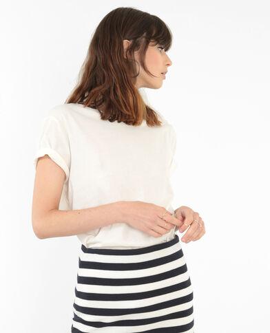 T-shirt lunga basic bianco sporco