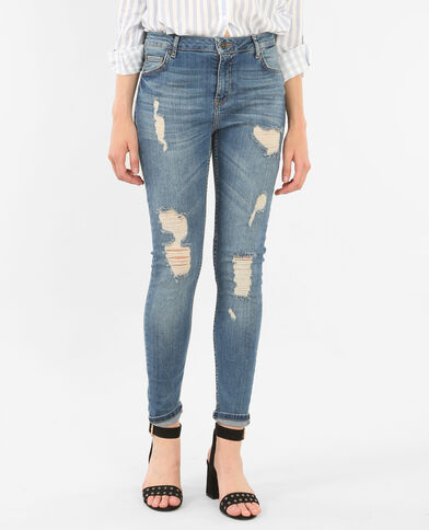 Jean slim destroy bleu denim