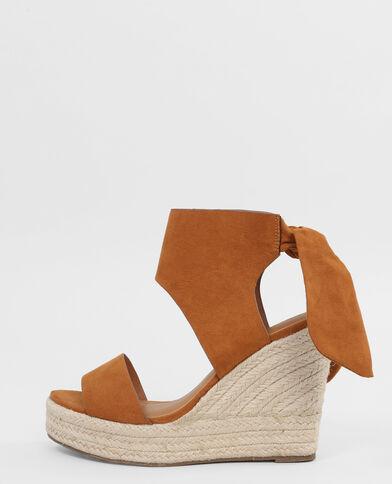 Keil-Sandaletten mit Schleife Kastanienbraun