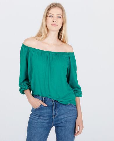 Camiseta con cuello bardot verde abeto