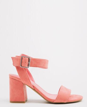Sandales talons carrés rose pâle