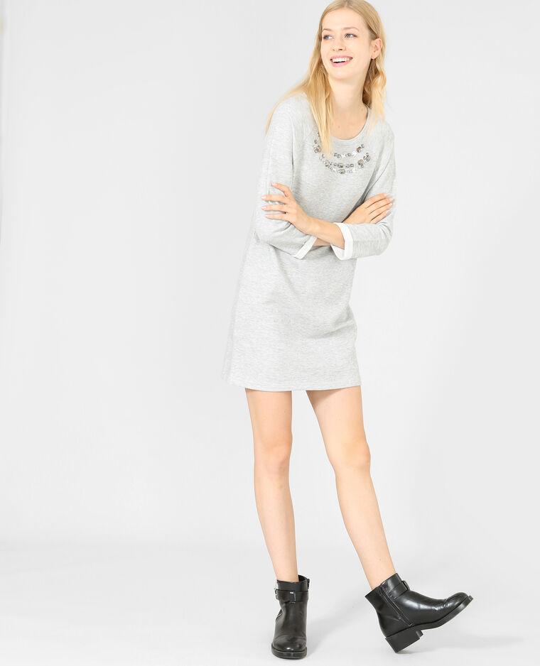 sweatshirt kleid mit schmuck kragen grau meliert. Black Bedroom Furniture Sets. Home Design Ideas