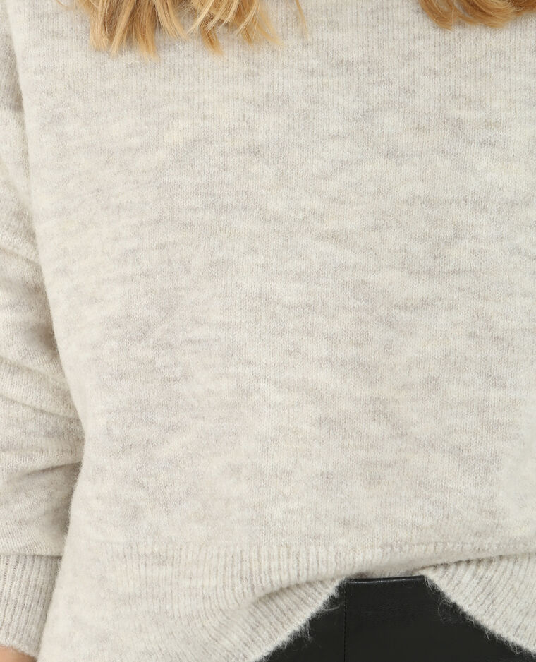 Pull col roulé gris chiné