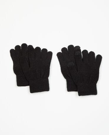Pack de gants compatibles smartphone noir