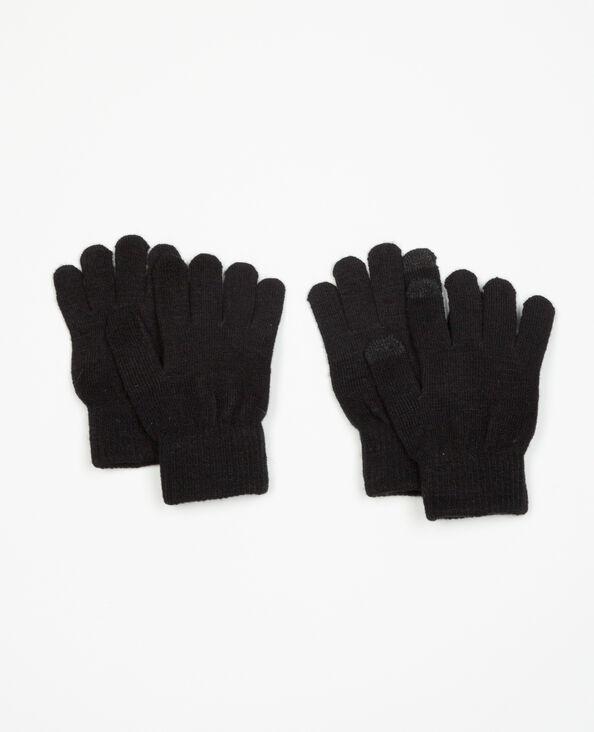 Confezione di guanti compatibile con smartphone nero