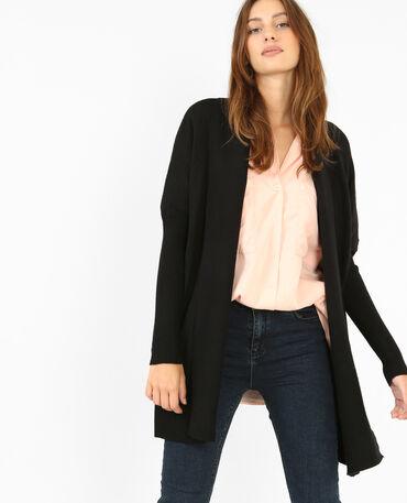 Lange Jacke mit Zipfeln Schwarz