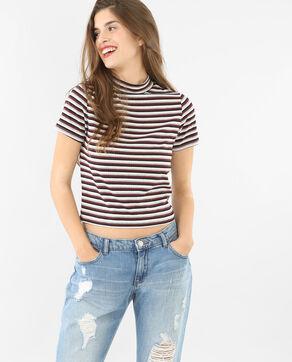 T-shirt cropped côtelé gris