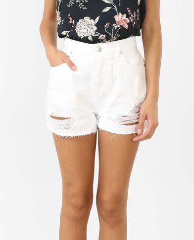 Short in jeans a vita alta bianco